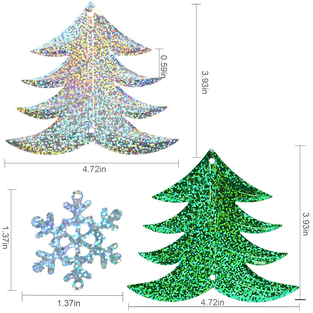 Christmas Hanging Decorations -3 Pieces Christmas Tree and Snowflake Shape Ornaments Hanging Bunting Garlands Banner for Xmas Party Decor