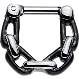 Body Candy Stainless Steel Chain Link Septum Clicker 14 Gauge 1/4""