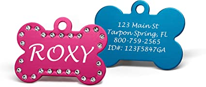 Crystal Dog Bone Id Tag Personalized Engraved Custom Pet Cat Aluminum Tag