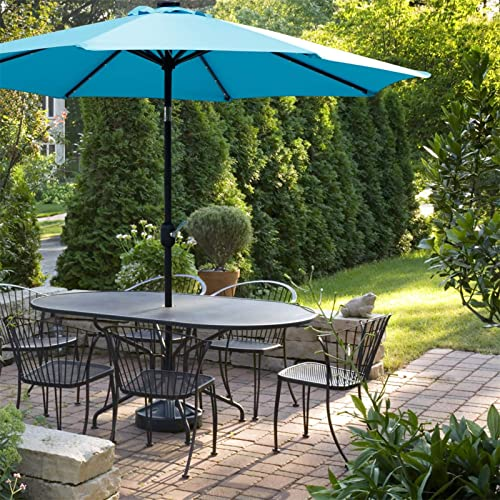 Viewee 9 FT Solar Patio Umbrella 32 LED Lighted Outdoor Umbrella with 8 Steel Ribs, Push Button Tilt, and Crank System Which for Garden, Pool, Beach, Deck and Backyard