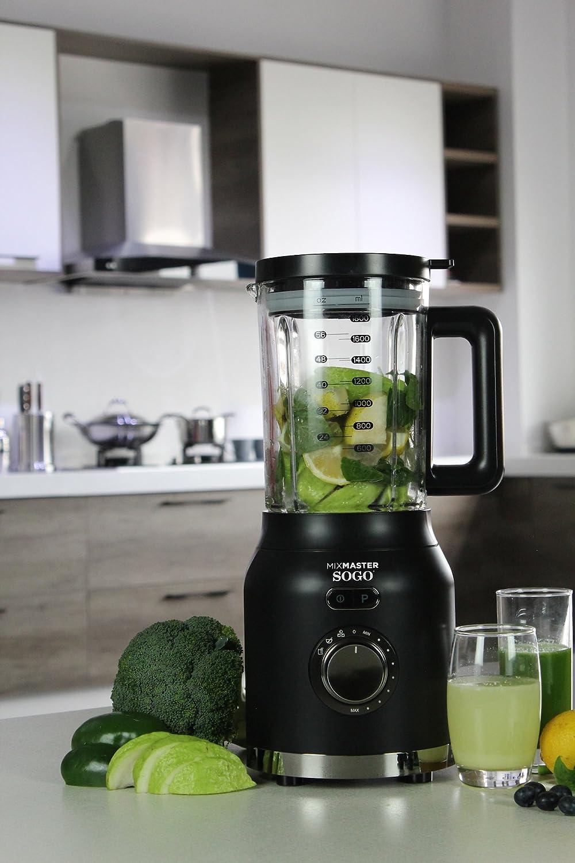 Sogo MixMaster Batidora licuadora americana de vaso de 1200W con jarra de cristal de 1.6L con cuchillas de 6 hojas en acero inoxidable