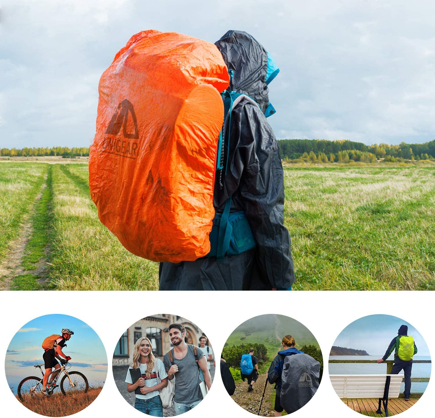 Ultraportable and Durable with 2 Anti-Slip Buckle Strap Unigear Backpack Rain Cover Waterproof Rating 5000mm Integrated Carry Pouch Design