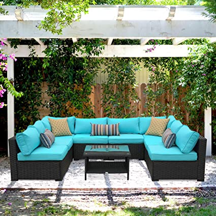 Outdoor Rattan Sectional Sofa - Patio PE Wicker Conversation Furniture Set  (9-Piece,Turquoise)