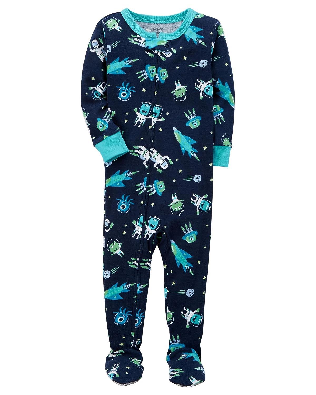 Carters Baby Boys 2T-5T One Piece Snug Fit Cotton Pajamas (3T, Blue/Space)