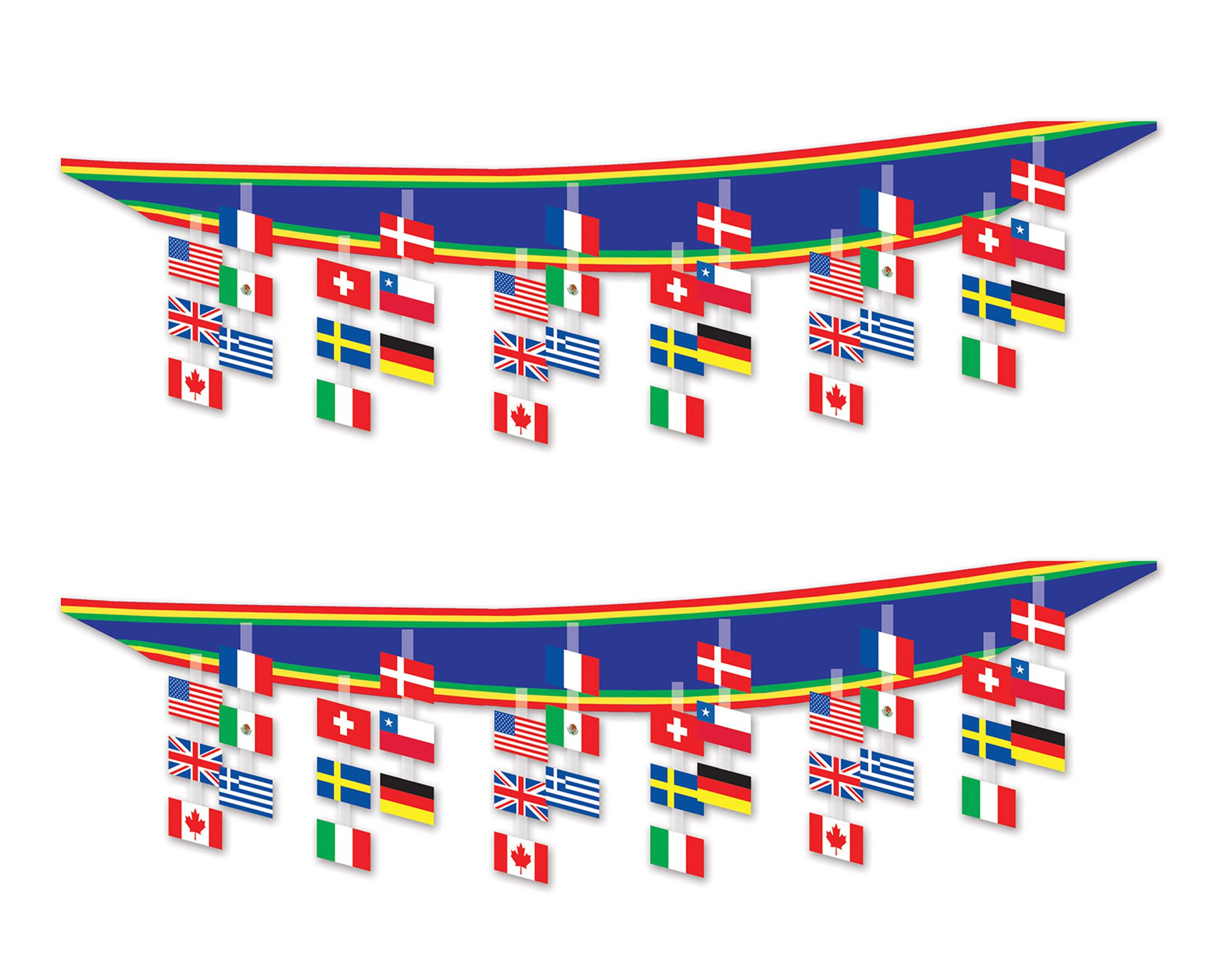 Beistle S50337AZ2, 2 Piece International Flag Ceiling Décor, 12'' x 12' by Beistle