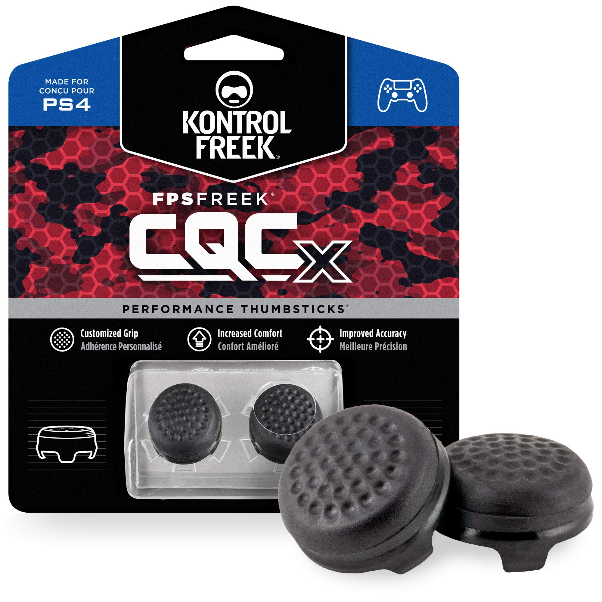 KontrolFreek CQCX Thumb Grips for PlayStation 4 Controller (PS4) and PlayStation 5 (PS5) | 2 Mid-Rise Convex Performance Thumbsticks | Black