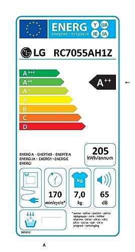 LG RC 7055 AH1Z Wärmepumpentrockner / A++ / 7 kg / Selbstreinigender  Kondensator / Startzeitvorwahl / Smart Diagnosis / weiß