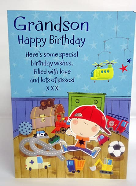 Grandson Happy Birthday 8 Page Insert Lovely Bright Modern Colouring