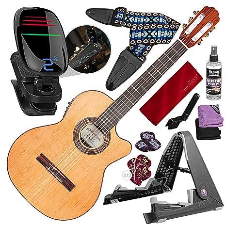 Kremona Fiesta F65CW Cutaway - Guitarra eléctrica acústica con soporte para guitarra, afinador cromático,
