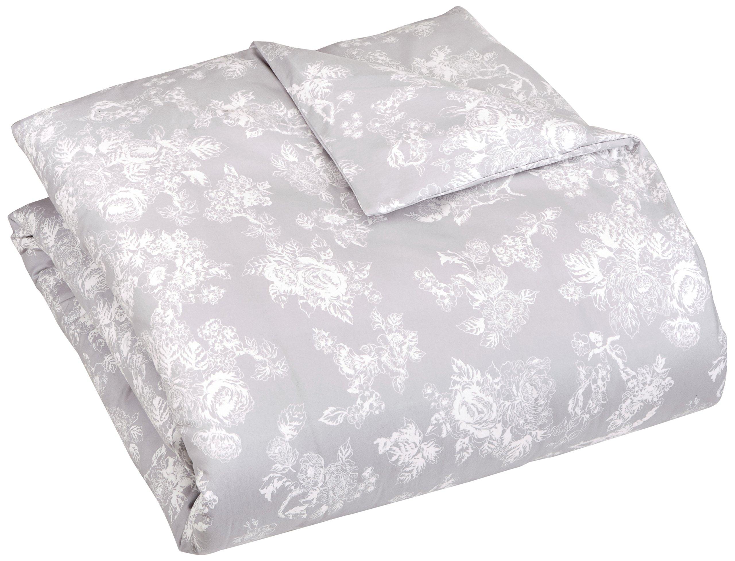 pinzon 170 gram flannel duvet cover full queen floral grey 841710139945 ebay. Black Bedroom Furniture Sets. Home Design Ideas