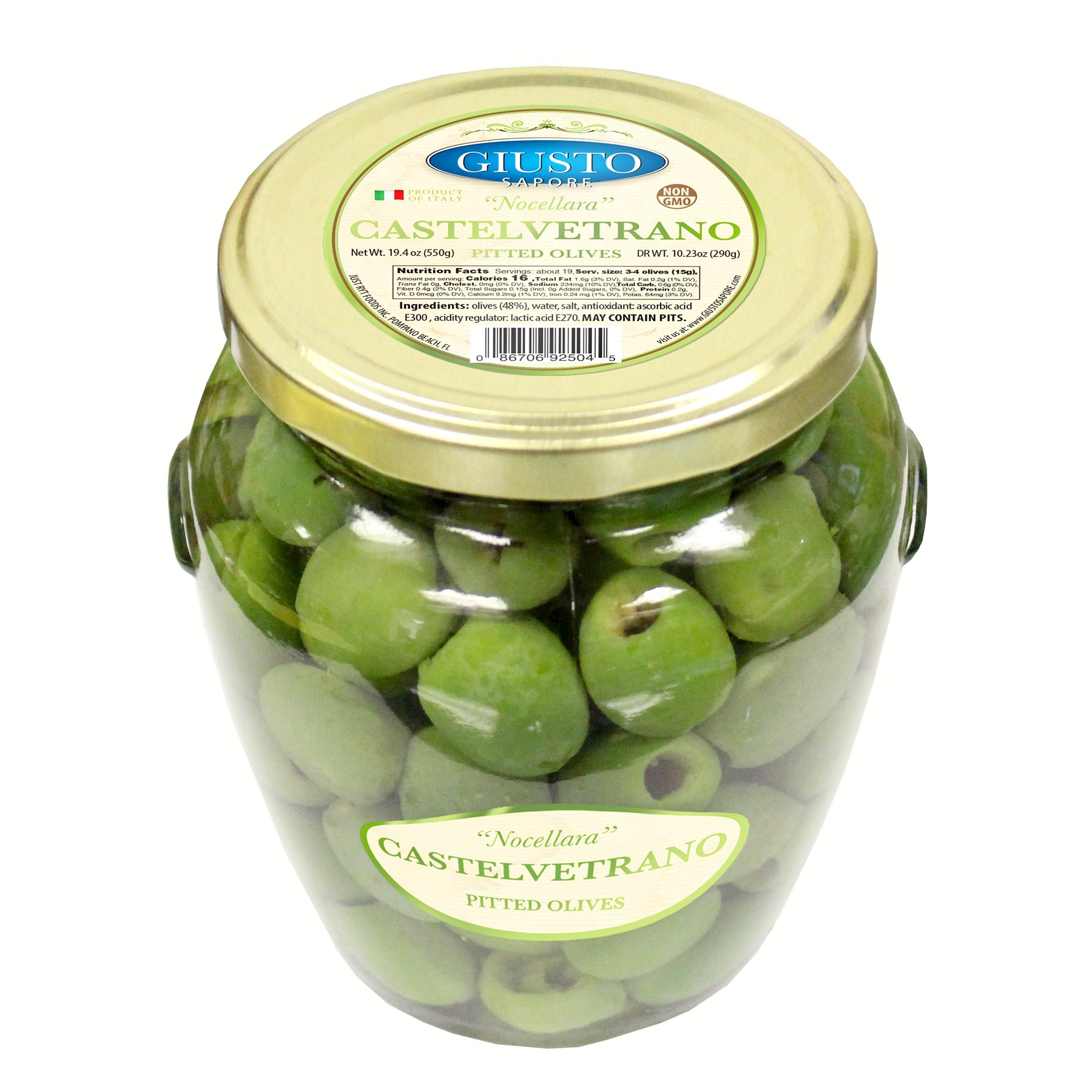 Giusto Sapore Italian Olives - Castelvetrano Pitted - Premium Gourmet GMO Free - Imported from Italy and Family Owned - 19.4oz.