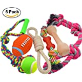 Medium Large Dog Rope Toys 6 Pack Set, 4 Sturdy Rope Toy with Ball and Handle for Tug of War & 1 Wooden Dog Bone & 1 Squeaker Football, Assortment For Large Breeds and Big Puppies