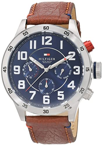 2c9589a9 Tommy Hilfiger Trent Men's Quartz Watch with Blue Dial Analogue Display and Brown  Leather Strap 1791066: Amazon.co.uk: Watches