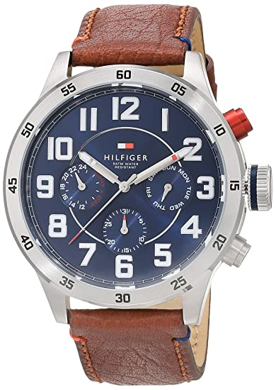 ahorrar 2507e 93584 Reloj analógico de cuarzo para hombre Tommy Hilfiger Trent 1791066, correa  de piel marrón.