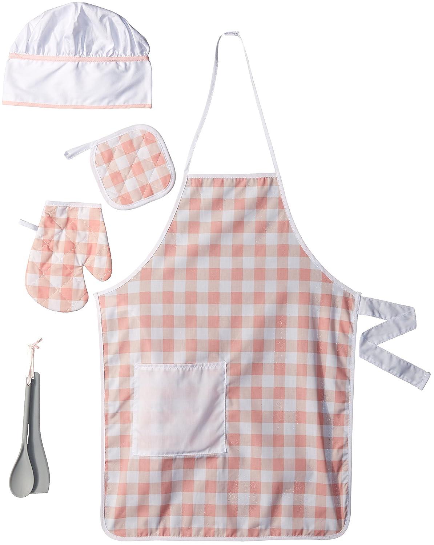 KidKraft 63196 Disfraz de Chef infantil con 6 piezas, delantal, color rosa