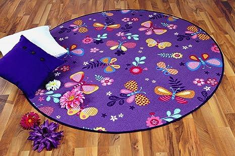 Tappeto Cameretta Lilla : Bambini tappeto gioco farfalla lilla rotondo in misure