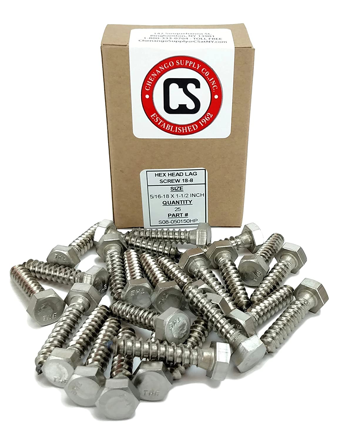 18-8 Stainless Steel 1 To 5 Lengths Available in Listing 5//16 x 1 25 pieces Stainless 5//16 x 1 Hex Lag Screw