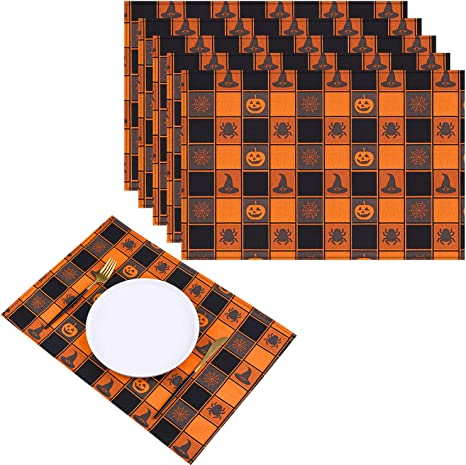 Table Decorative Table Mat Black Color Table Decorative Cloths Placemats 18 x 12 Inch Set Of 6 Pcs