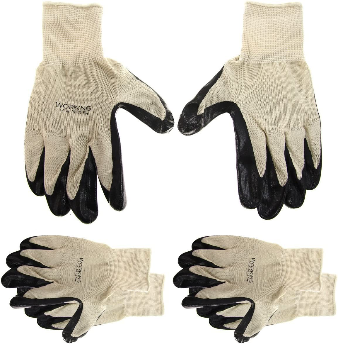 3 Pairs Of Men/'s Working Hands General Purpose/Nitrile/Coated Gloves Latex-Free Cleaning Texting Big Time Products TRTA005340