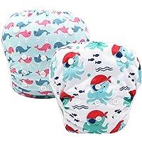 CROYEE Baby Reusable Swim Diapers Waterproof Adjustable Snaps Swimwear Pack of 2