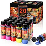 Acrylic Paint Set 20 Colors Acrylic Paints Non Toxic Craft Paint Professional for Artists Kids Painting on Canvas Wood Fabric