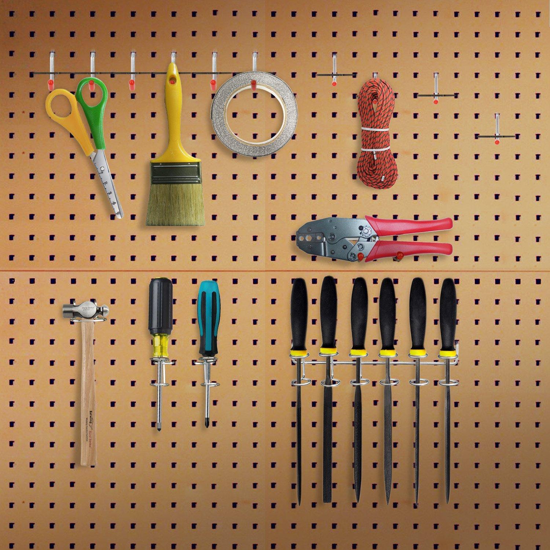 Peg Locks Included Pegboard Hooks Assortment HomeCito 52 Pack Pegboard Storage Hooks System Peg Board Tool Hanger Set Garage Kitchen Workshop Organizer Utility Hooks for 1//8 1//4 Pegboard