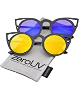 zeroUV - Womens Fashion Round Metal Cut-Out Flash Mirror Lens Cat Eye Sunglasses (2-Pack | Blk / Yellow & Blue Mirror)