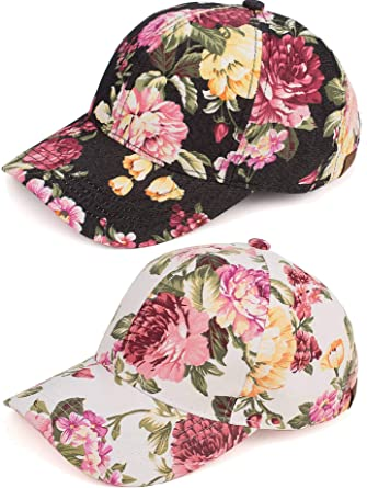 0650d6376 H-6053-2-7460625 Floral Baseball Cap Bundle: Black & Ivory Peony 2 ...