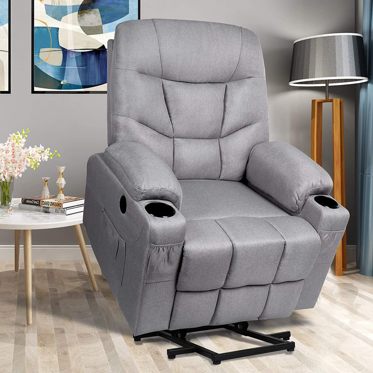 Power Lift Recliner Chair for Elderly Electric Massage Sofa with Heated Vibration,Side Pockets,Cup Holders, USB Ports,Massage Remote Control,Fabric Home Theater Seat Living Room Reclining Bed, Grey