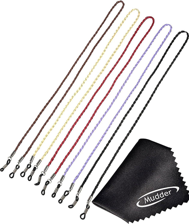 5 Piezas Cadena de Gafas Correa de Gafas de Cuero PU Retenedor de Cordón de Gafas con 2 Piezas de Paño de Limpieza