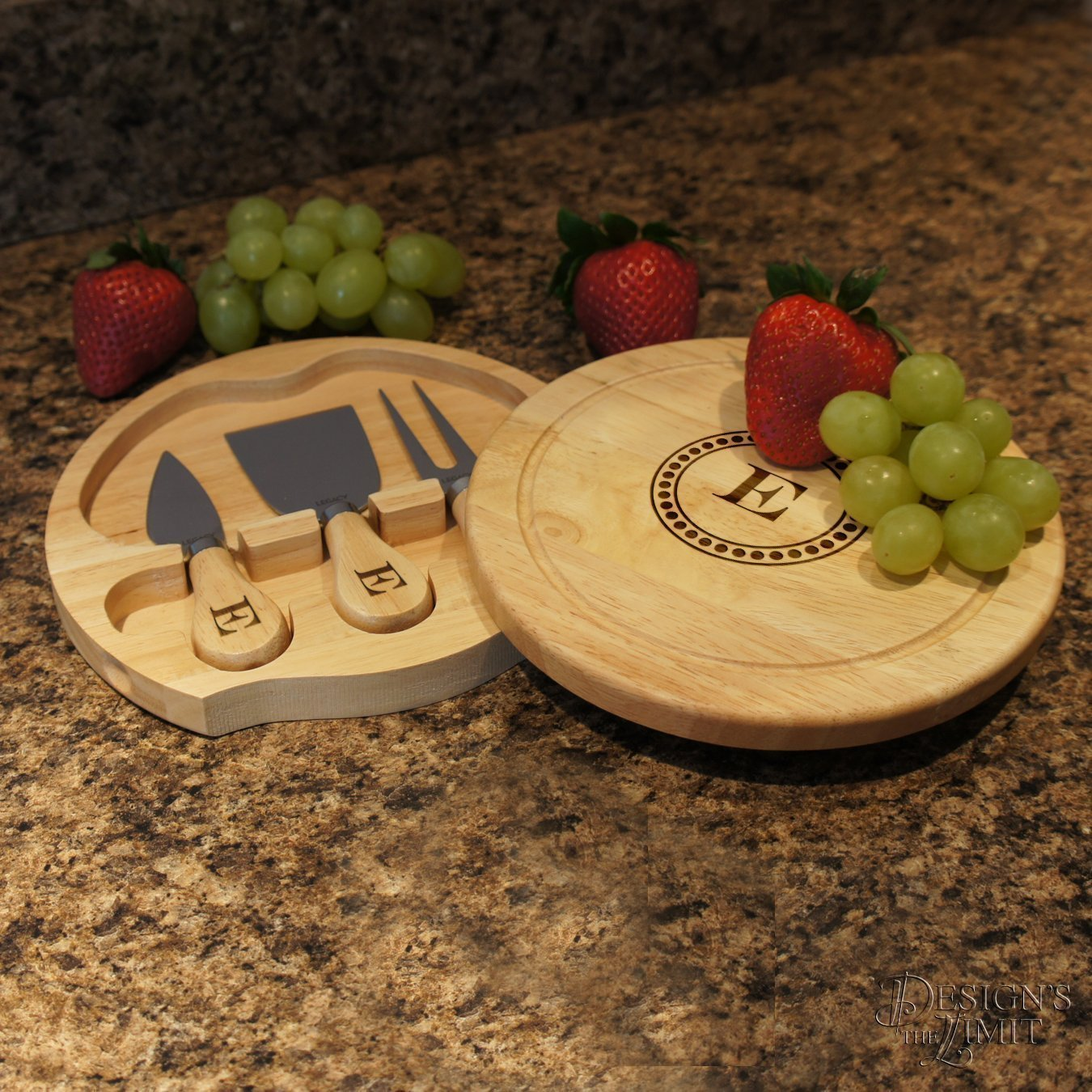 personalized cheese board set with monogram and design