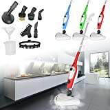 11 in 1 Portable Steam Mop Multi Purpose Window & Floor Cleaner Carpet Steamer Upholstery Garment Hob Oven Steamer Hand Held & Upright Steamer Steam Jet (Green)
