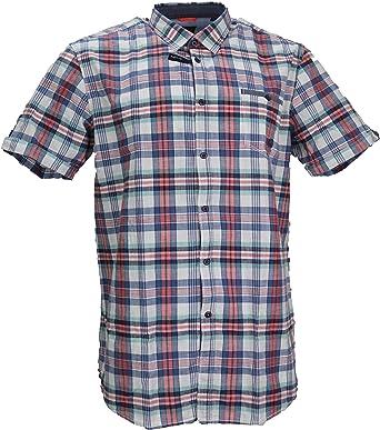 LERROS Camisa de manga corta para hombre, diseño a cuadros ...