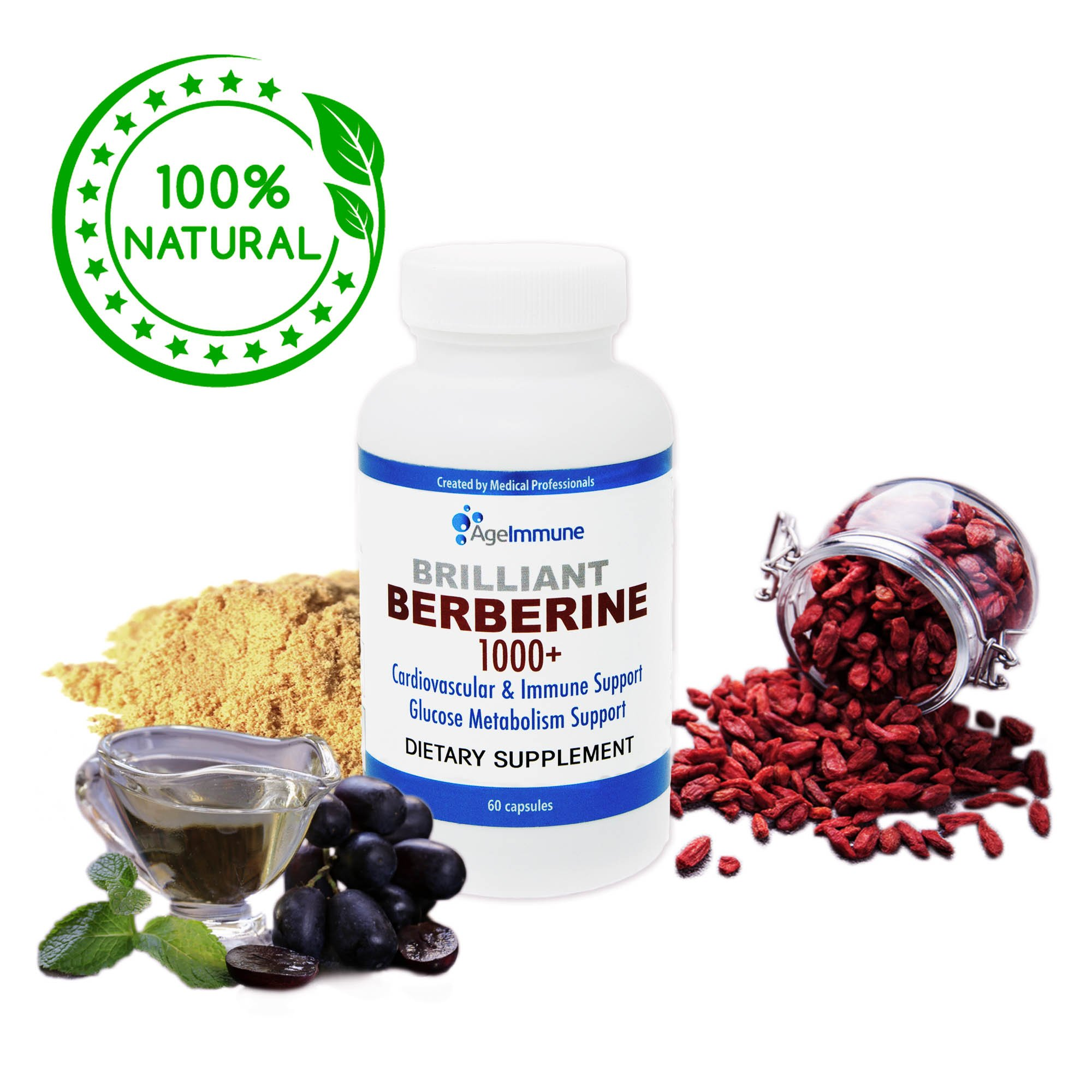 Berberine 1000mg Plus Extra Strength Supplement Complex for Blood Sugar Metabolism Support, Blood Pressure, Cholesterol and Weight Management – Professional Grade Premium Herb, 60 Capsules