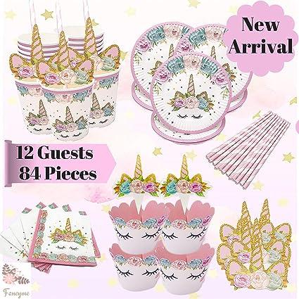 Amazon.com: Unicornio cumpleaños fiesta suministros Set y ...