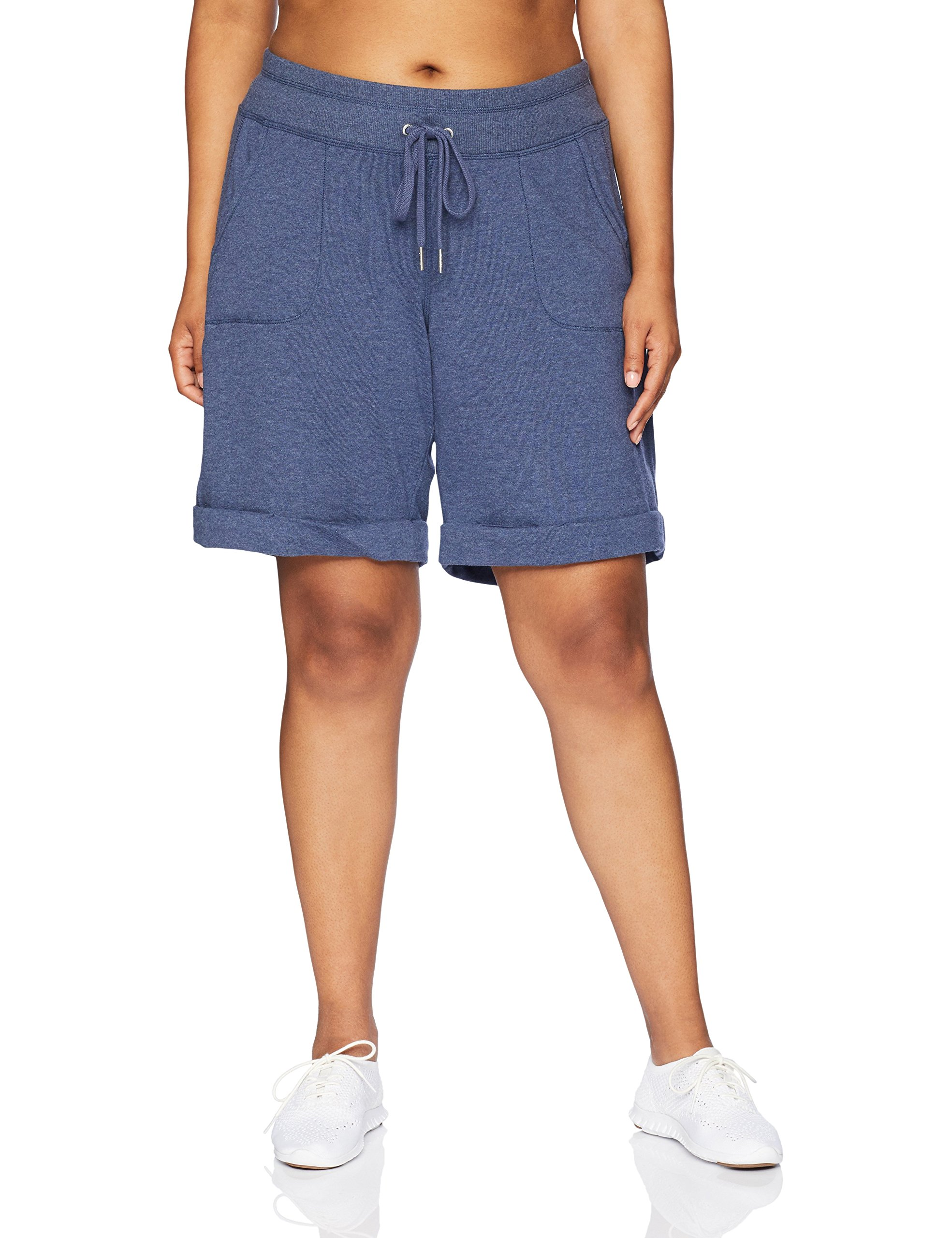 Calvin Klein Performance Women's Plus Size Short with Rib Inset and Cuff, Stonewash Heather, 1X