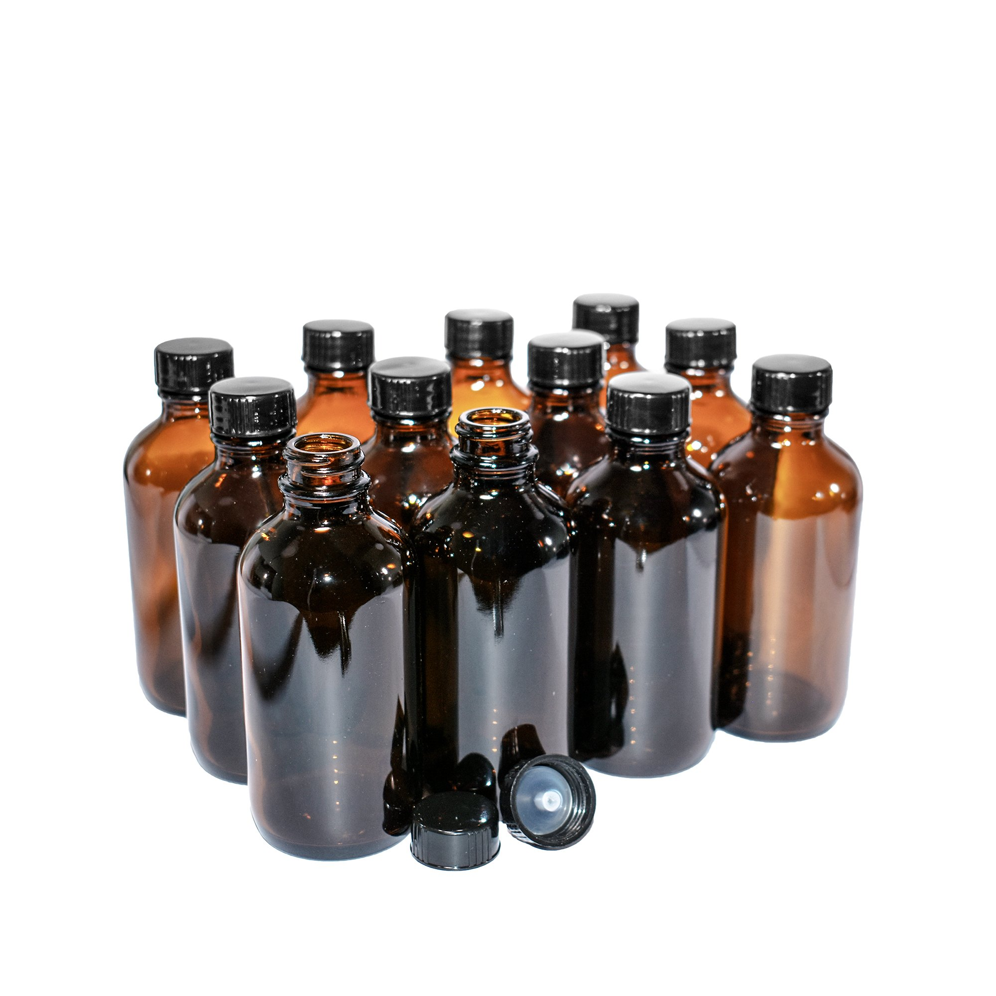 (12 pack) 4 oz. Amber Boston Round with Black Poly Cap (22/400) by GBO GLASSBOTTLEOUTLET.COM