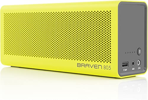BRAVEN 805 Portable Wireless Bluetooth Speaker 18 Hour Playtime Built-in 4400 mAh Power Bank Charger – Yellow Gray
