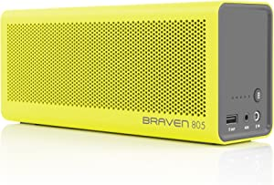 BRAVEN 805 Portable Wireless Bluetooth Speaker [18 Hour Playtime] Built-in 4400 mAh Power Bank Charger - Yellow/Gray