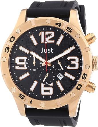 Just Watches 48-S3978-RG - Reloj analógico de Cuarzo para Hombre, Correa de Goma Color Negro (cronómetro)