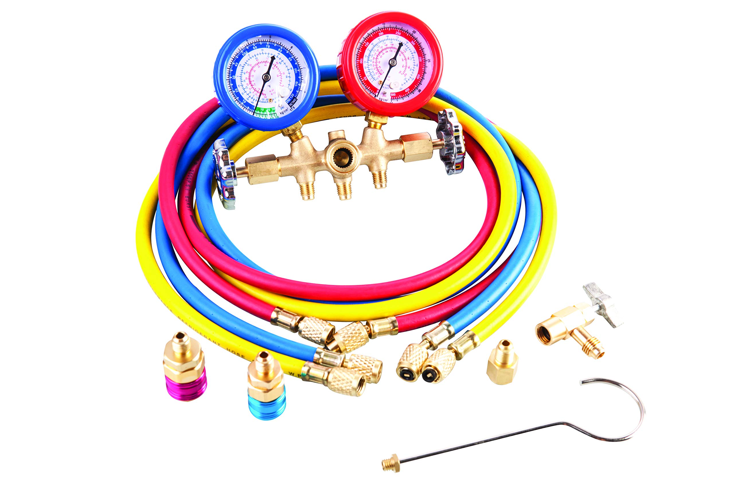 Aain 1002 AC Diagnostic Manifold Freon Gauge Set for R134A R12, R22, R502 Refrigerants, with Couplers and Acme Adapter