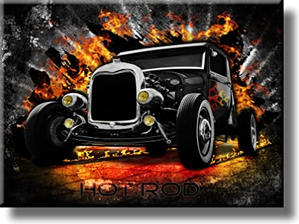 Amazon.com: Hot Rod Classic Car Picture on Stretched Canvas, Wall ...