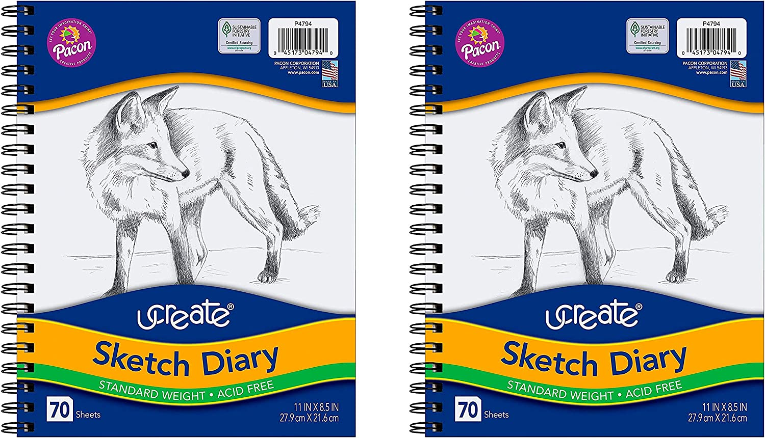 8.5 x 11 Pacon 4794 UCreate Sketch Diary 70 Sheets 2 Pack