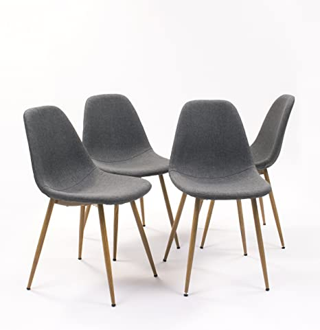 Pack de 4 sillas de Comedor Cairo tapizada en Tela,con Patas de ...