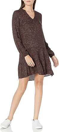 Goodthreads Amazon Brand Women's Fluid Twill Relaxed Fit Notch Neck Tiered Mini Dress