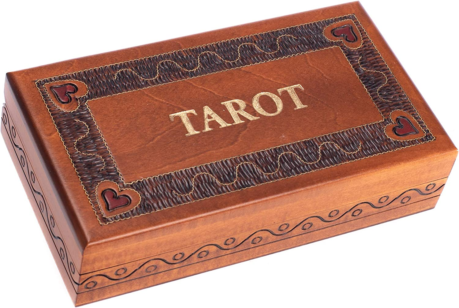 Tarot Card Heart Natural Brown and Gold Tone 7 x 4 Solid Wood Decorative Box
