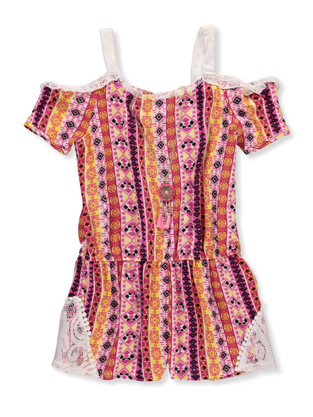 RMLA Girls' Cold Shoulder Romper with Necklace 10