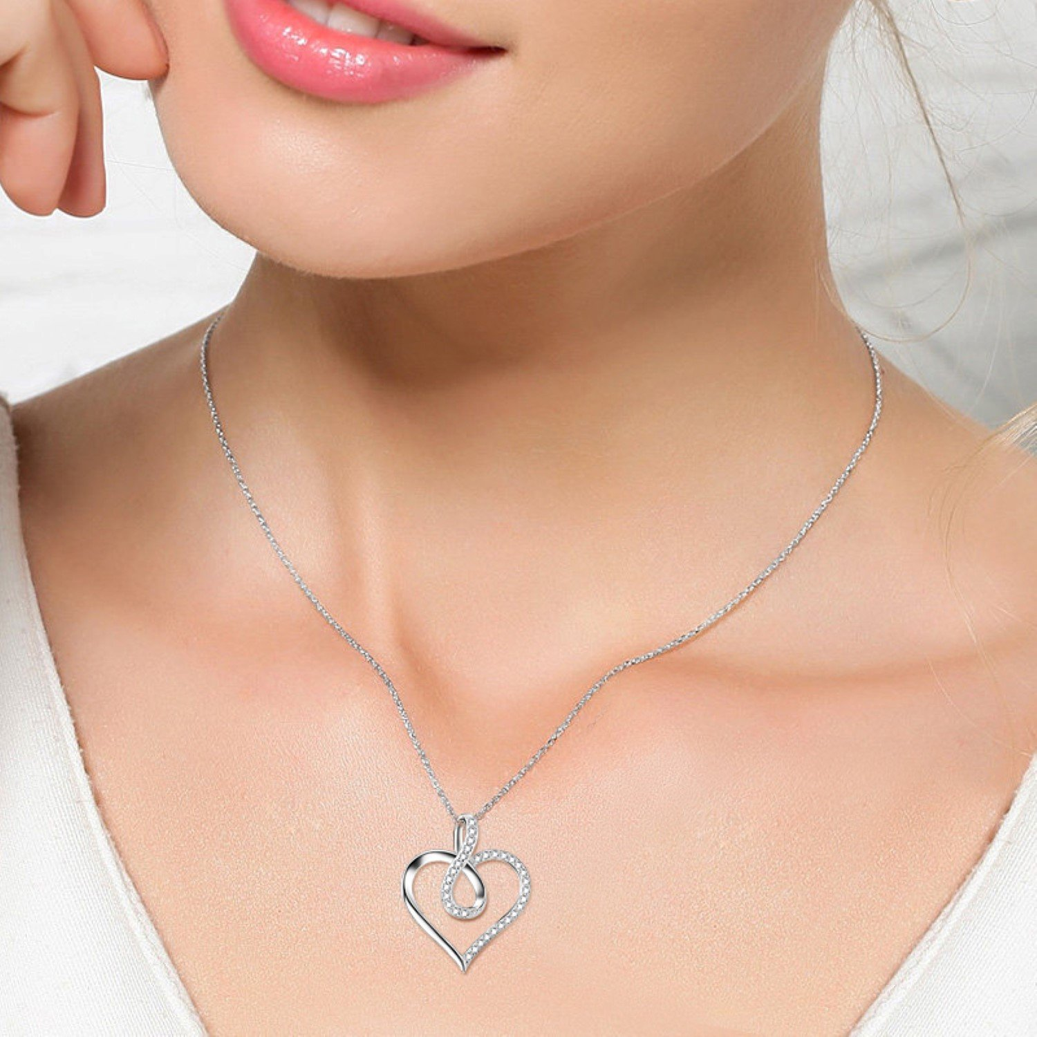 CS-DB Womens Necklaces by Silver Pendant Heart Charm Girls Infinity Love Crystal Charm Jewelry