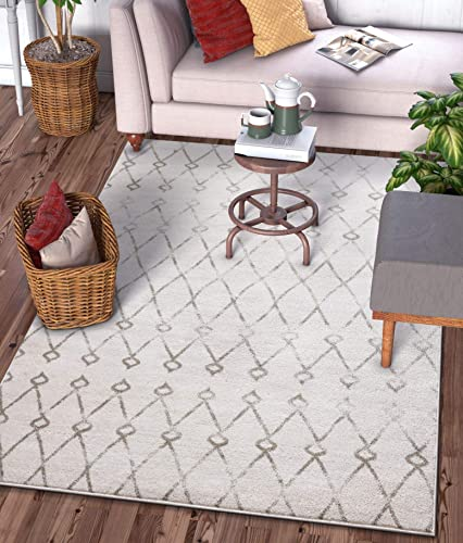 Viaje Trellis Ivory Distressed Traditional Vintage Moroccan Diamond Lattice Area Rug 9×13 9 3 x 12 6 Carpet