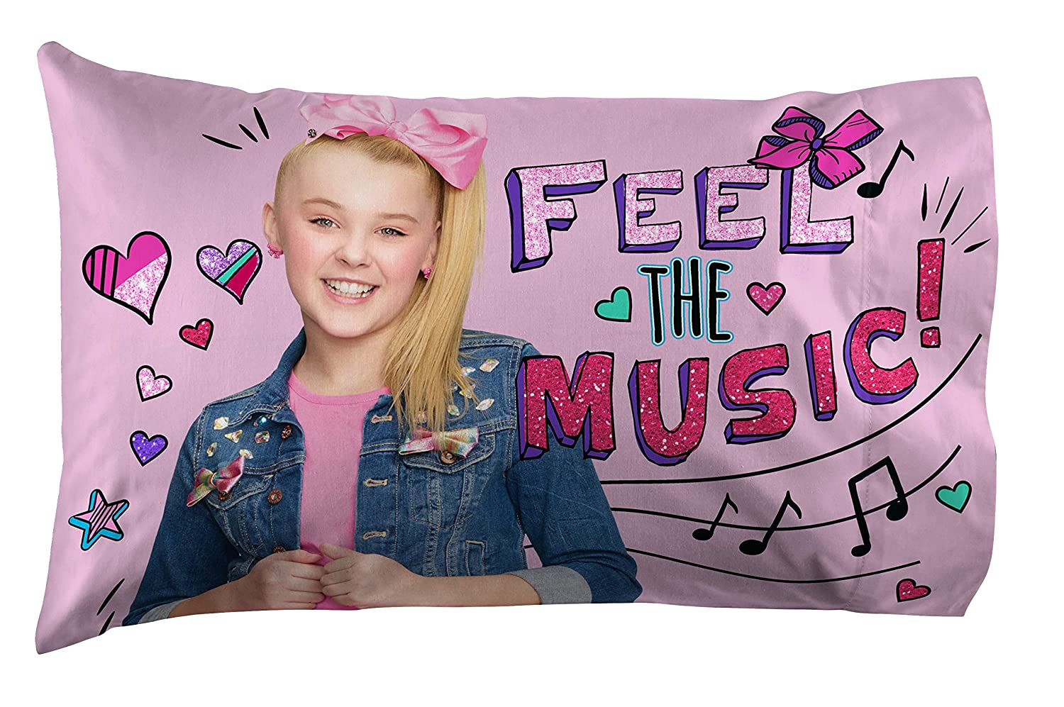 Nickelodeon JoJo Siwa 5pc Twin Bedding Collection with Comforter Fitted and Flat Sheets Purple and Pink Sham and Pillowcase Sheet Set